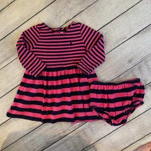Ralph Lauren Baby Girls Dress, Sz 12M, Pink Navy